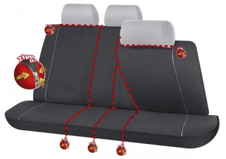 Serie Modulo ZIPP IT Polyester Autositzbezug Rücksitzbankbezug 8-teilig schwa...