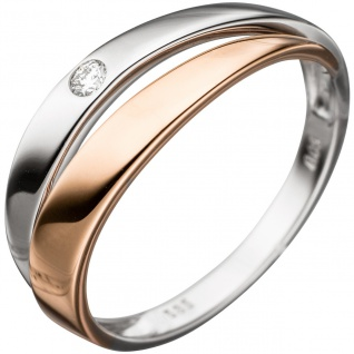 Damen Ring 585 Gold Weißgold Rotgold bicolor 1 Diamant Brillant Diamantring