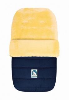 warmer Baby Winter Lammfell Fußsack blau waschbar, für Kinderwagen, Buggy, ca. 86x47 cm, 5-Punkt-Gurtschlitze