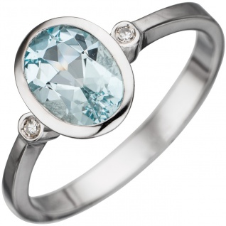 Damen Ring 585 Gold Weißgold 1 Aquamarin hellblau blau 2 Diamanten Weißgoldring