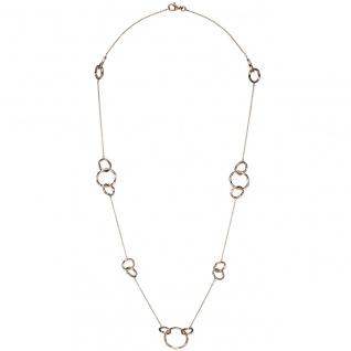 Collier Halskette 925 Sterling Silber rotgold vergoldet 70 cm Kette