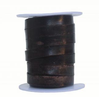 Rindleder Flachband antik im used look dunkelbraun, Länge 10 m, Breite 10 mm, Stärke ca. 1, 3 mm