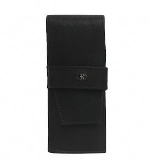 Stiftetui, Etui für Stifte, für 3 Stifte, Leder, schwarz