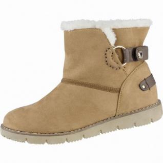 TOM TAILOR coole Damen Textil Winter Boots camel, Warmfutter, 1639285