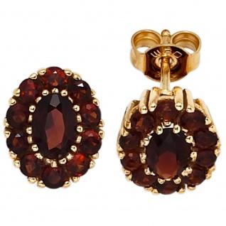 Ohrstecker oval 375 Gold Gelbgold 22 Granate rot Ohrringe Granatohrstecker