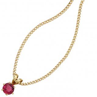 Anhänger 585 Gold Gelbgold 1 rosa Turmalin Goldanhänger