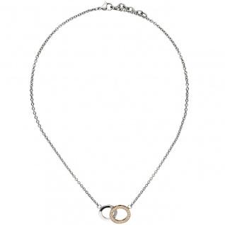 Collier Halskette Edelstahl teil rotgold beschichtet mit 23 Zirkonia 45 cm Kette