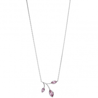Collier Kette mit Anhänger 925 Sterling Silber 3 Zirkonia rosa 45 cm Kette