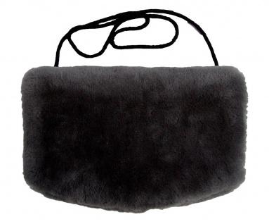 warmer Lammfell Pelzmuff, Felltasche schwarz mit Reißverschlusstasche waschba...