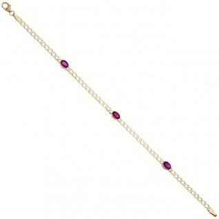 Armband 585 Gold Gelbgold 3 Rubine rot 19, 5 cm Goldarmband Rubinarmband