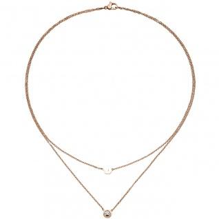 Collier Krone 2-reihig Halskette Edelstahl rotgold farben beschichtet 1 Zikonia