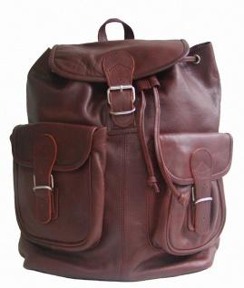 großer Leder Rucksack mit Trennfach braun, oil pulled Rindleder, 2 Vortaschen...