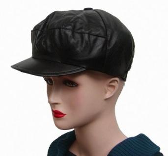 coole Damen, Herren Ziegenleder Ledermütze schwarz, Lederkappe, Leder Cabriomütze, Größe L=52 cm