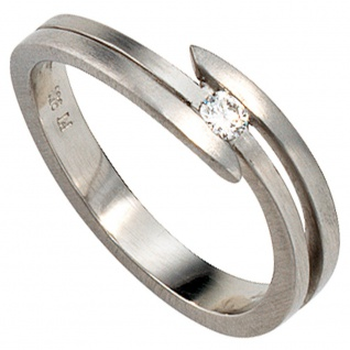 Damen Ring 950 Platin matt 1 Diamant Brillant 0, 09ct. Platinring - Vorschau 1