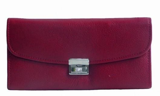 große Leder Kellner Geldbörse rot, 7 Fächer + Kleingeldfach, Öse, 18 cm breit...