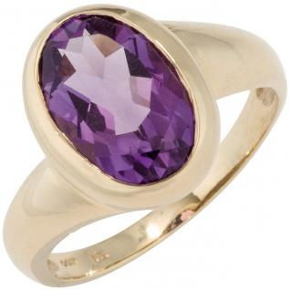 Damen Ring 585 Gold Gelbgold 1 Amethyst lila violett Goldring Amethystring
