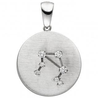 Anhänger Sternzeichen Waage 925 Sterling Silber matt 7 Zirkonia Silberanhäng - Vorschau
