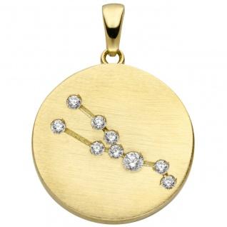 Anhänger Sternzeichen Stier 333 Gold Gelbgold matt 9 Zirkonia Goldanhänger