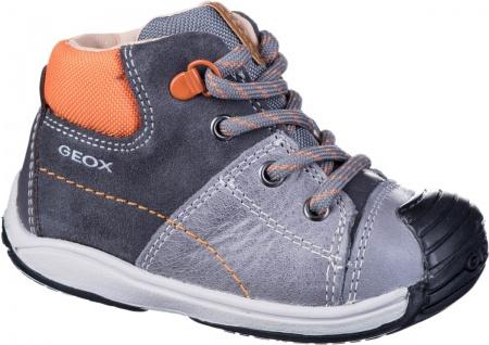 GEOX Jungen Leder Lauflern Schuhe grey, Geox Leder Fußbett, Antishock