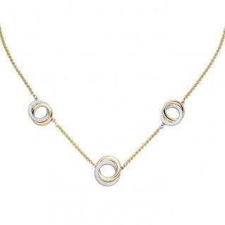 Collier Halskette 585 Gold Gelbgold Weißgold bicolor 82 Diamanten 45 cm
