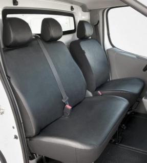 Passform Sitzbezüge Renault Trafic, passgenauer Kunstleder Sitzbezug Einzelsitz+Doppelbank vorn, Bj. 06/2001-07/2014