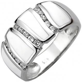 modischer Damen Ring 925er Sterling Silber mit 15 Zirkonias und weiße Emaille...