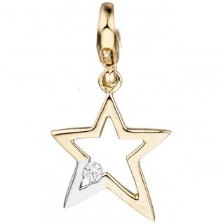 Einhänger Charm Stern 375 Gold Gelbgold bicolor 1 Zirkonia Sternanhänger
