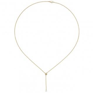 Collier 750 Gold Gelbgold 1 Diamant Brillant 45 cm