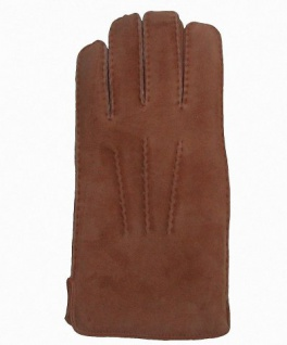 Herren Fingerhandschuhe Lammfell camel, Fellhandschuhe camel, Größe 10