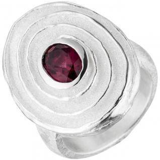 Damen Ring 925 Sterling Silber teil matt 1 Rhodolith Silberring