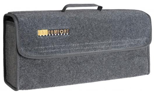 große Kofferraum Auto KFZ Tasche L grau mit Klettverschluss+Druckknöpfen 50x2...