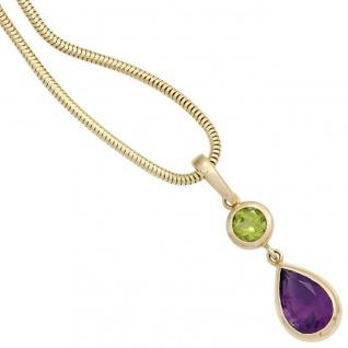 Anhänger 585 Gold Gelbgold 1 Peridot grün 1 Amethyst violett Goldanhänger