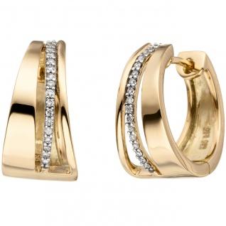 Creolen 585 Gold Gelbgold bicolor 34 Diamanten Brillanten Ohrringe Goldcreolen