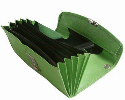 große Leder Kellner Geldbörse maigrün, 7 Fächer + Kleingeldfach, Öse, 18 cm breit, 9-11 cm hoch - Vorschau 2