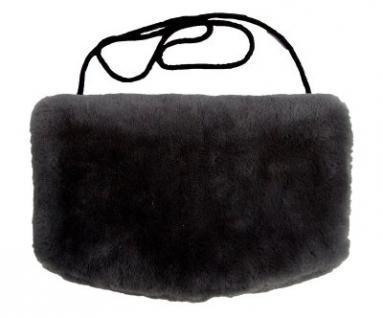 warmer Lammfell Pelzmuff schwarz mit Reißverschlusstasche waschbar, geschorenes Lammfell, ca. 29, 5x19 cm