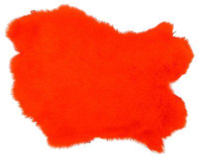 Kaninchenfelle orange gefärbt, ca. 30x30 cm, Felle vom Kaninchen mit seidigem Haar