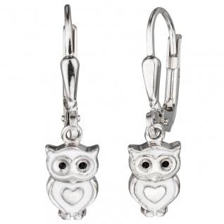 Kinder-Ohrhänger Eule 925 Sterling Silber rhodiniert