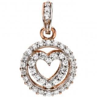 Anhänger Herz 925 Sterling Silber bicolor vergoldet mit Zirkonia Herzanhänger