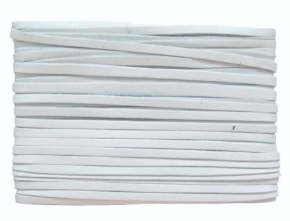 weiches Leder Flechtband Ziegenleder auf Karte weiß, Länge 10 m, Breite ca. 2...