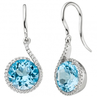Ohrhänger 585 Gold Weißgold 70 Diamanten Brillanten 2 Blautopase hellblau blau