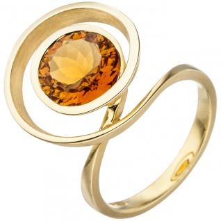 Damen Ring verschlungen 585 Gold Gelbgold 1 Citrin orange Goldring Citrinring