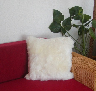 kuscheliges Lammfell Fellkissen weiß, quadratisch ca. 40x40 cm, Haarlänge ca....