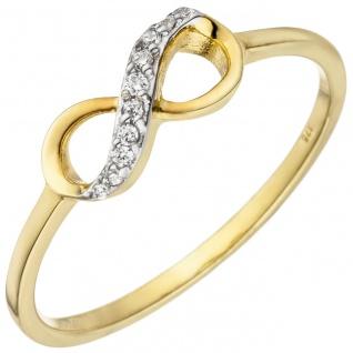 Damen Ring Unendlichkeit 375 Gold Gelbgold 10 Zirkonia Goldring