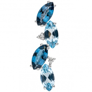 Anhänger 585 Weißgold 2 Diamanten Brillanten 4 Blautopase hellblau blau