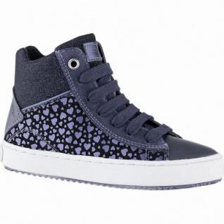 Geox Mädchen Synthetik Sneakers navy, 7 cm Schaft, Meshfutter, Leder Fußbett, Antishock, 3741108