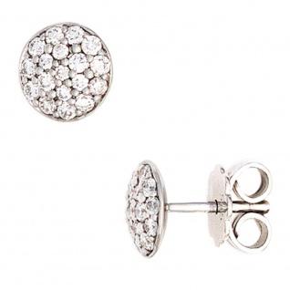 Ohrstecker rund 585 Gold Weißgold 36 Diamanten Brillanten 0, 40ct. Ohrringe