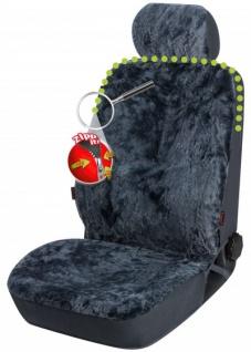 2 Stück Universal Reißverschluss Autositzfelle + Kopfstützenbezüge anthrazit, ZIPP IT System, echtes Lammfell, Sommer + Winter