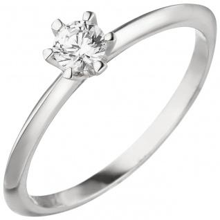 Damen Ring 585 Gold Weißgold 1 Diamant Brillant 0, 15 ct. Diamantring Solitär