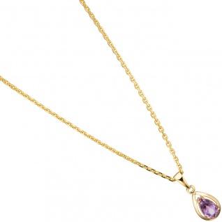Anhänger Tropfen 333 Gold Gelbgold 1 Amethyst lila violett Goldanhänger