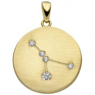 Anhänger Sternzeichen Krebs 333 Gold Gelbgold matt 5 Zirkonia Goldanhänger